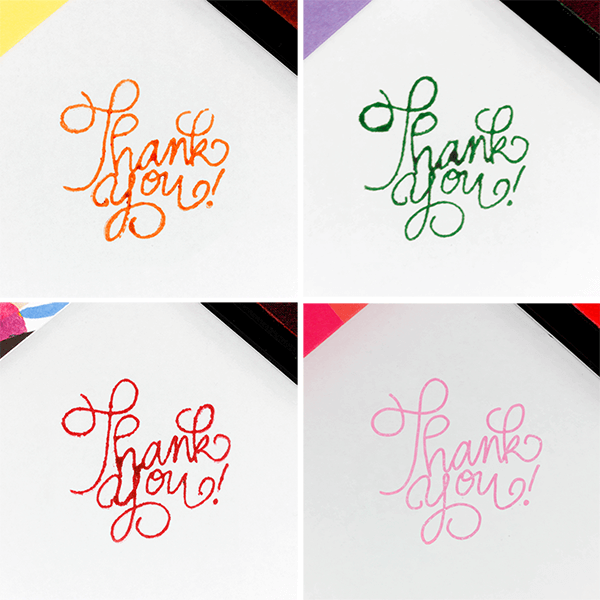 orange, green, red and pink ink pads