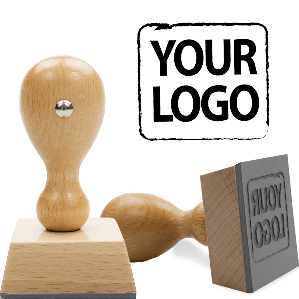 Square & Round Logo Stamp | Small Wood Handle Hand Stamp