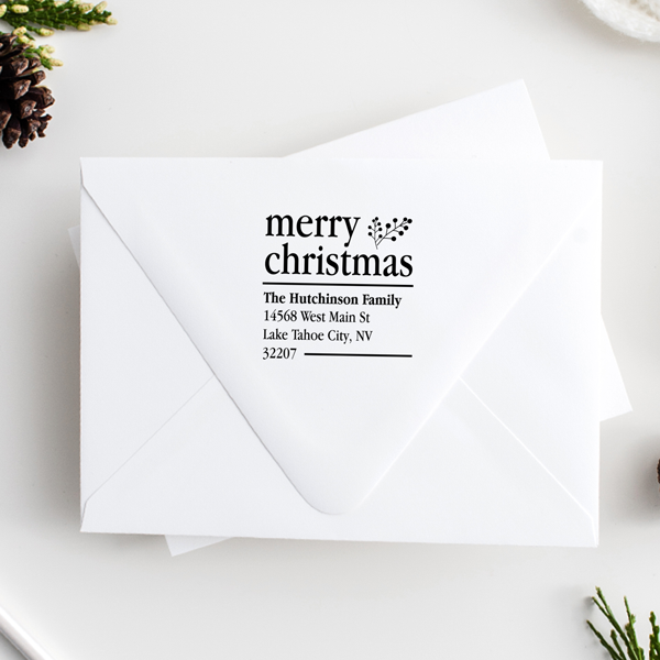 Merry Christmas With Fern Holiday Address Stamp