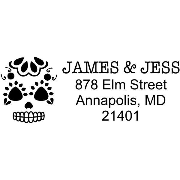 Sugar Skull Face Heart Address Stamper