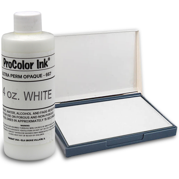 White 4oz SuperMarking Ink w/ Small Pad
