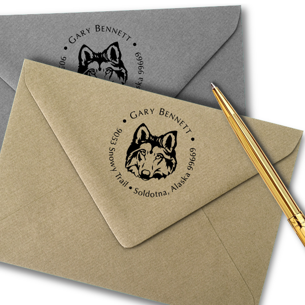 Wolf Face Return Address Stamp Imprint Example