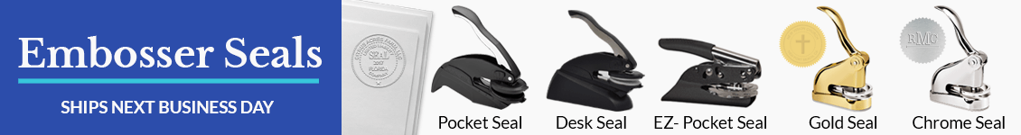 embosser seal types and model examples, ships next business day