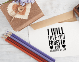 custom i will love you forever craft stamp on paper