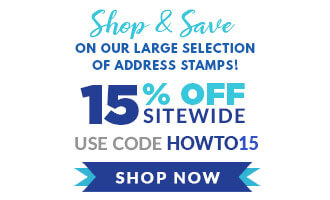 Shop and Save on Address Stamps Text Image