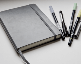 Gray Journal and Pens